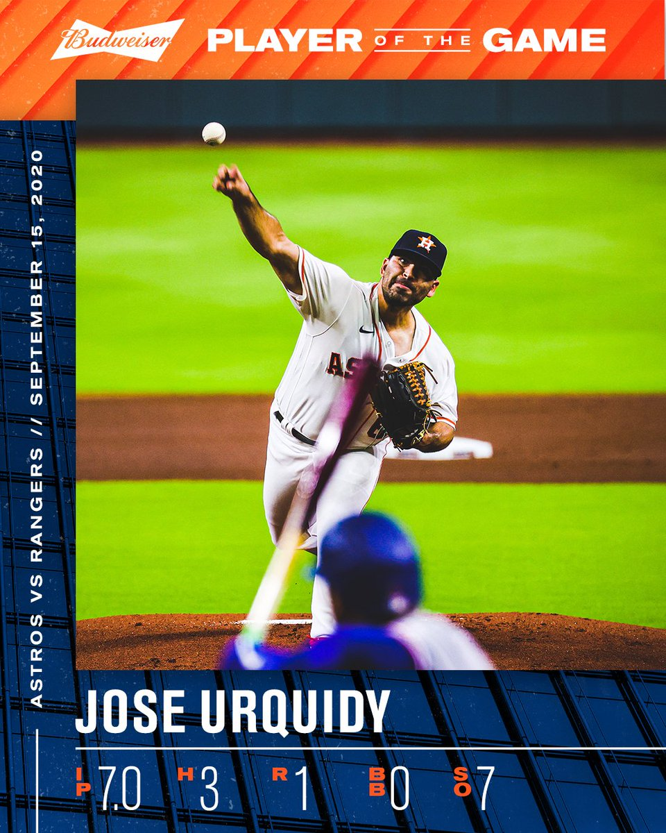 Struck out 7 over 7.   Jose Urquidy is tonight's @budweiserusa Player of the Game!   #ForTheH
