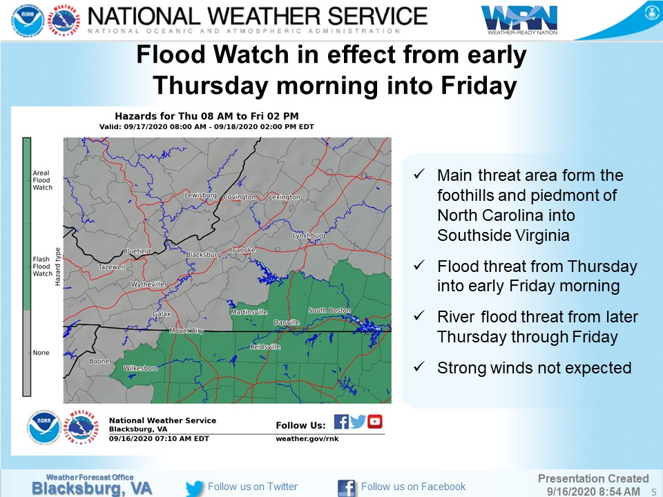 A flood watch will be in effect for Pittsylvania County on Thursday as the remnants of Hurricane Sally move north. The National Weather Service predicts that somewhere between 1 and 3 inches of rain will fall between late Wednesday night and Friday morning.