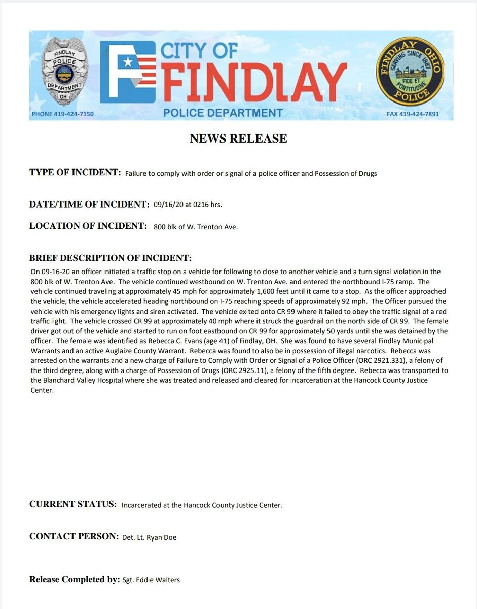 NEWS RELEASE:  TYPE OF INCIDENT: Pursuit DATE/TIME OF INCIDENT: 09/16/20 @ 0216 hrs. LOCATION OF INCIDENT: 800 Block W. Tenton Ave.