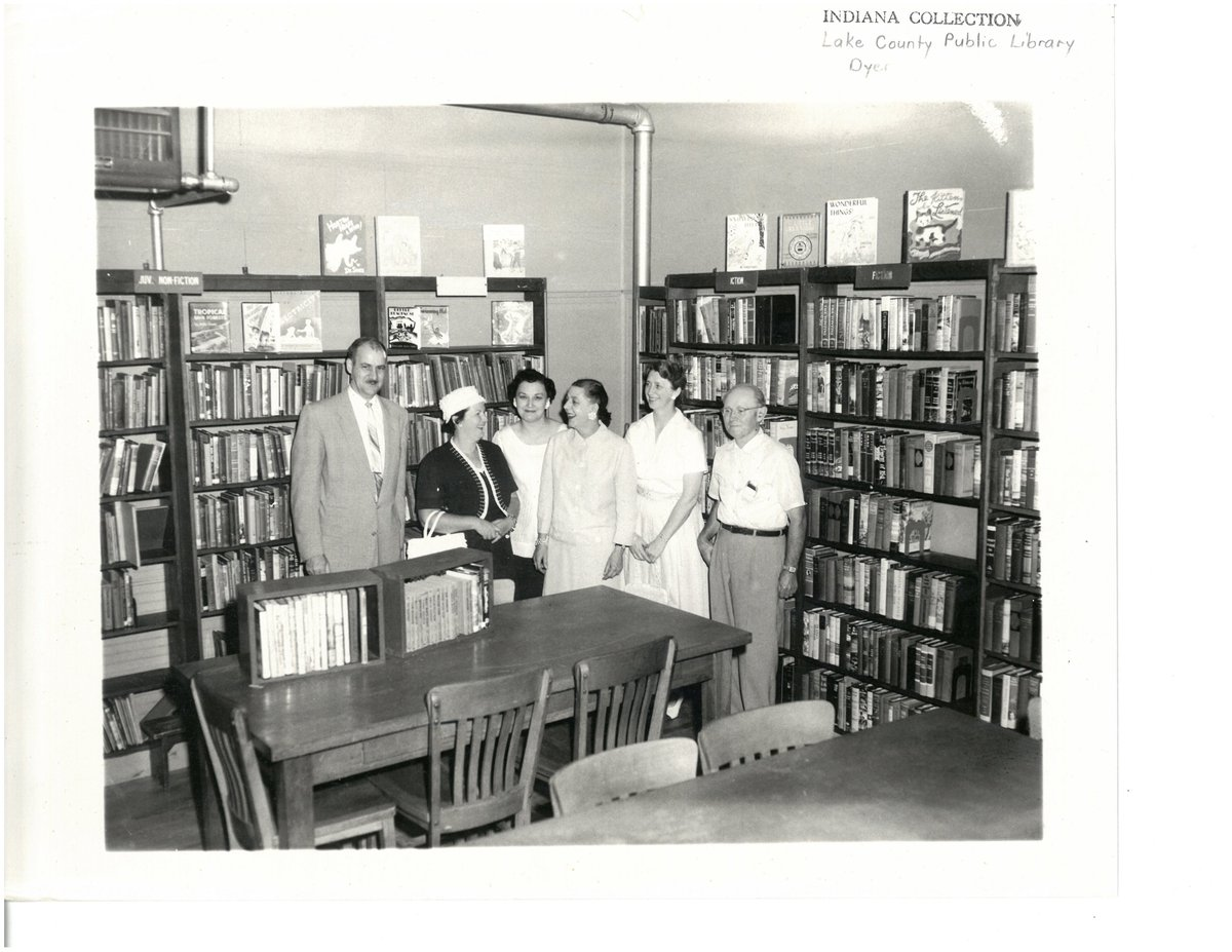 The official inspection of the Dyer Library (then located in the back of the @TownofDyer town hall on Shulte St) before it opened in the 50s! The inspectors were reps from @GPL1908 and the county library board. #ThrowbackThursday #NWIndiana #LibraryHistory