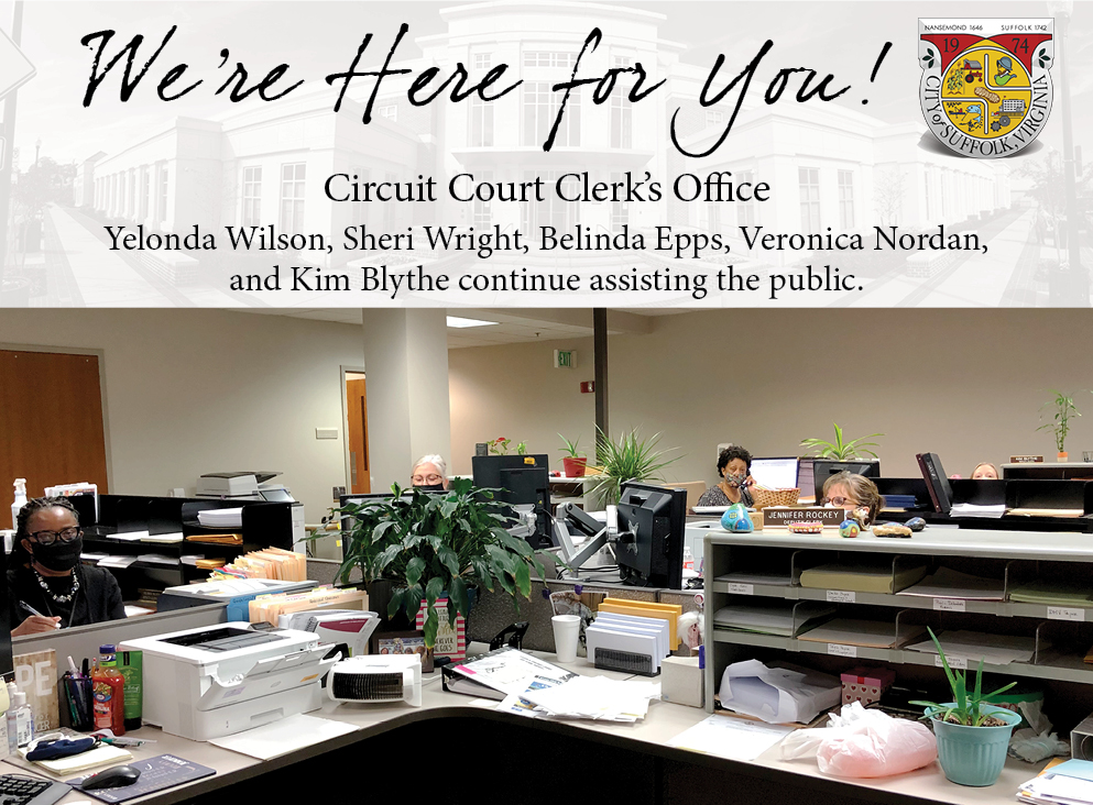 All staff are reporting to work daily and are available to assist the public in a safety-conscious, modified fashion. Pictured here are (left to right): Deputy Clerk III's Yelonda Wilson, Sheri Wright, Belinda Epps, Veronica Nordan, and Kim Blythe continue assisting the public.