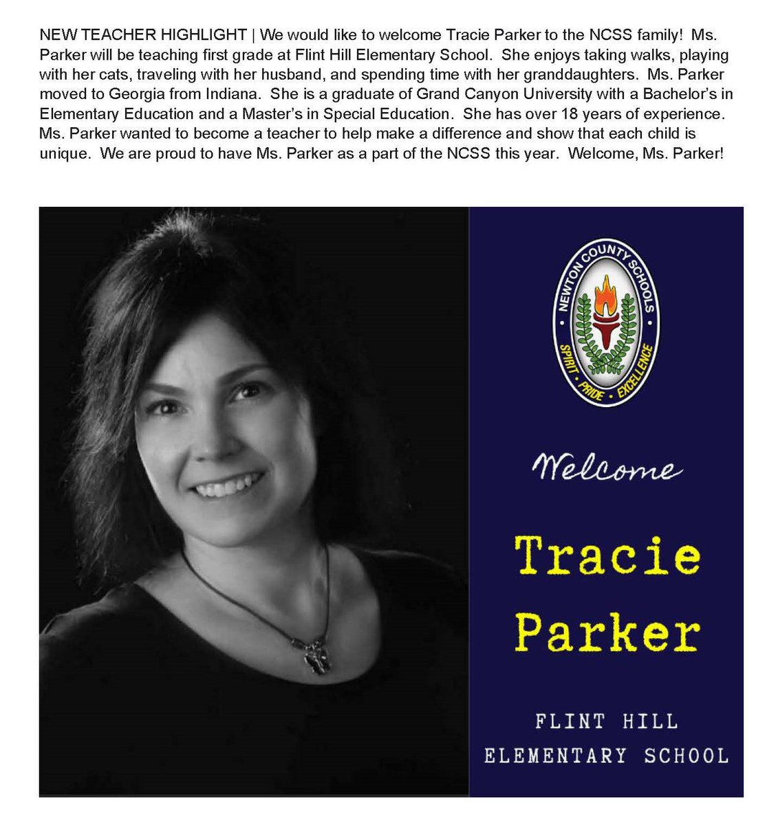 We welcome Ms. Tracie Parker to the @FHESWolfpack @FHES_TWEET & NCSS Team! #NCSSBeTheBest