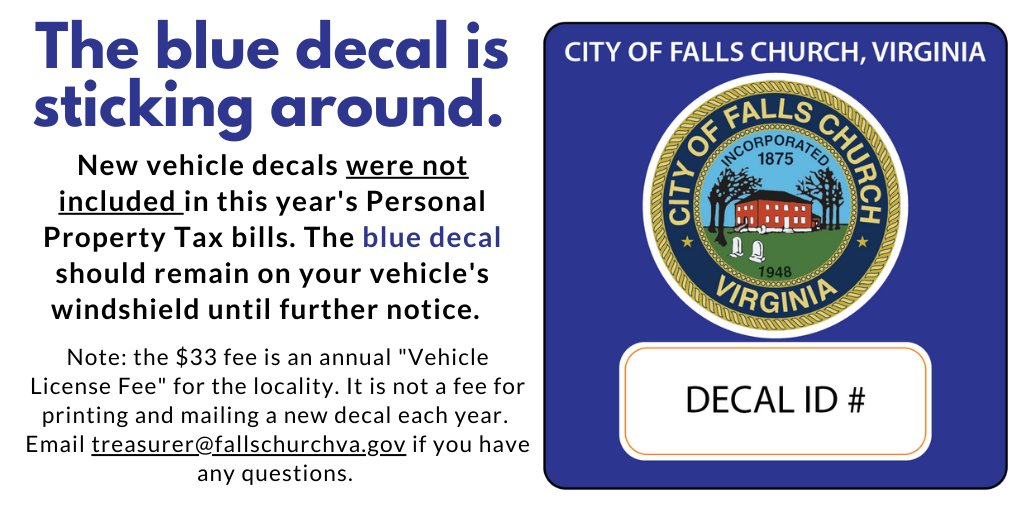 Nope, we didn't forget to mail you a new vehicle decal this year. The blue decal is sticking around for now, so make sure it stays on your vehicle's windshield until further notice.