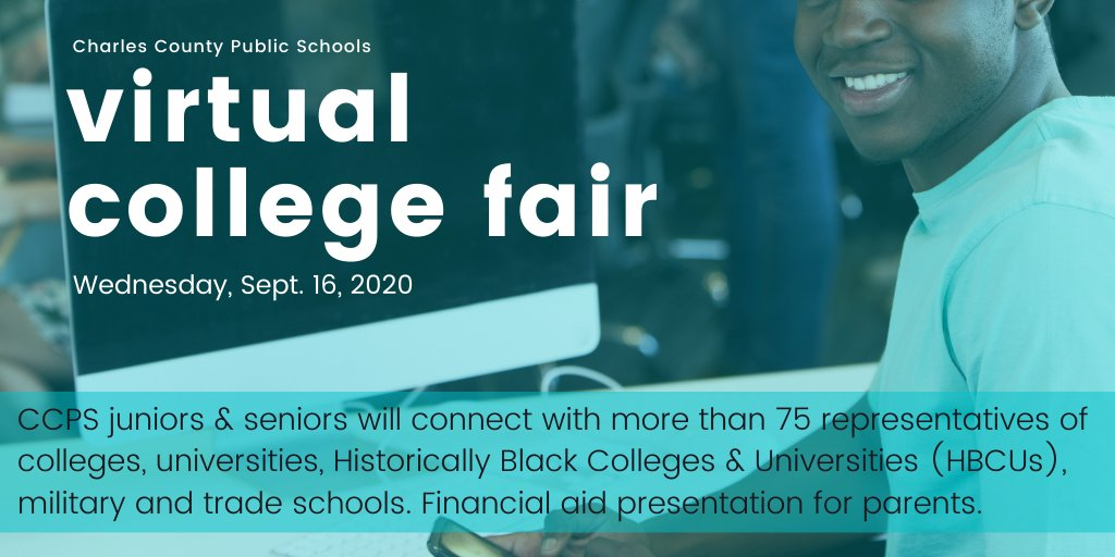 The College Fair is today for CCPS juniors & seniors. Visit the database in your Teams account to connect virtually with live college/career reps. A financial aid presentation by CMS is set for tonight 6-7:30 p.m.