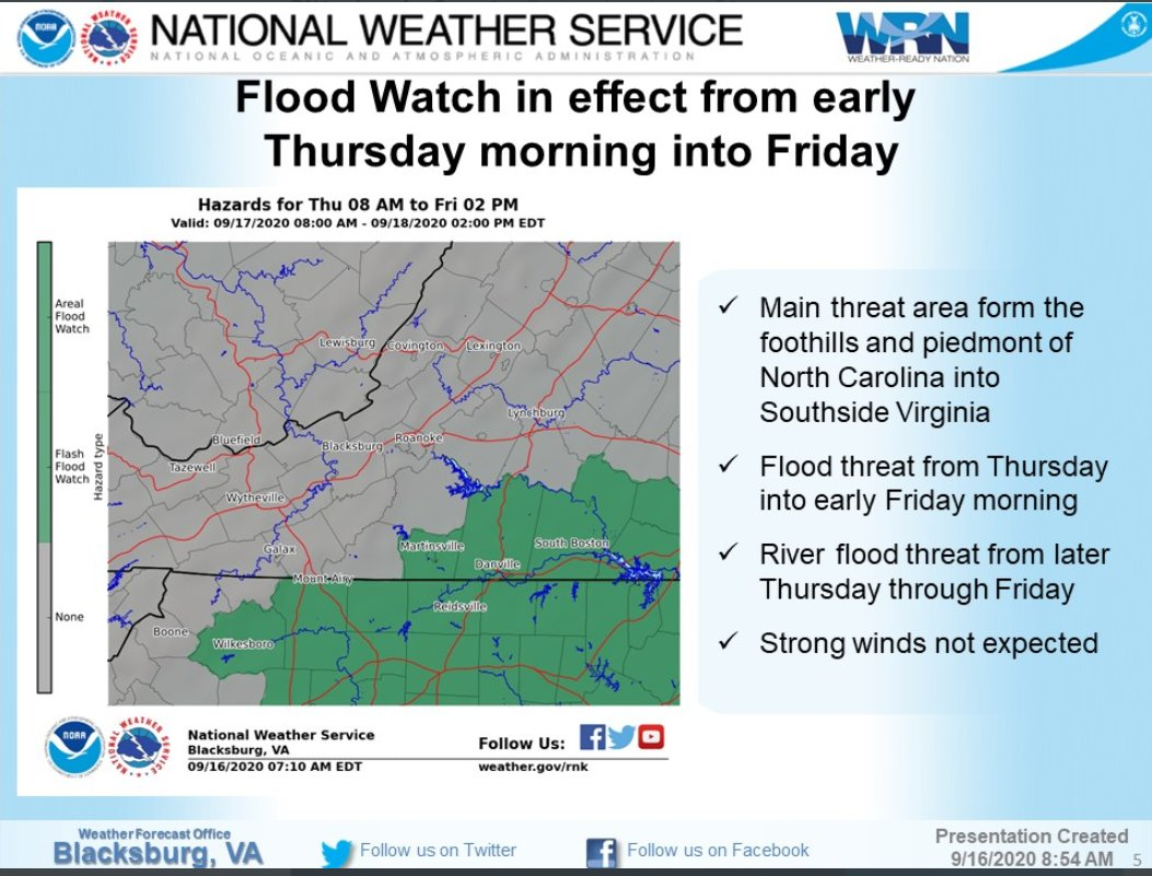 We will be under a flood watch Thursday and Friday as the remnants of Hurricane Sally passes to the south of our area, bringing periods of rainfall, some moderate to heavy. Rainfall of 1.5 to 3 inches is likely, with locally higher amounts possible.