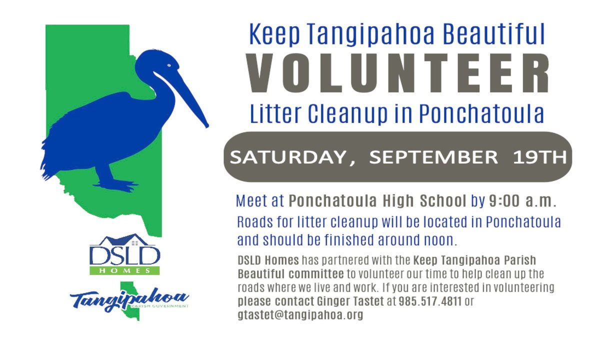 🚨 Reminder! Volunteers are still needed! If you would like to help keep Tangipahoa beautiful, please join us Saturday, September 19th for a Litter Cleanup event in Ponchatoula!  📍Meet at Ponchatoula High at 9 am  Register here>>>
