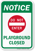 NOTICE - The playgrounds at North Elementary AND South Elementary are closed until further notice.