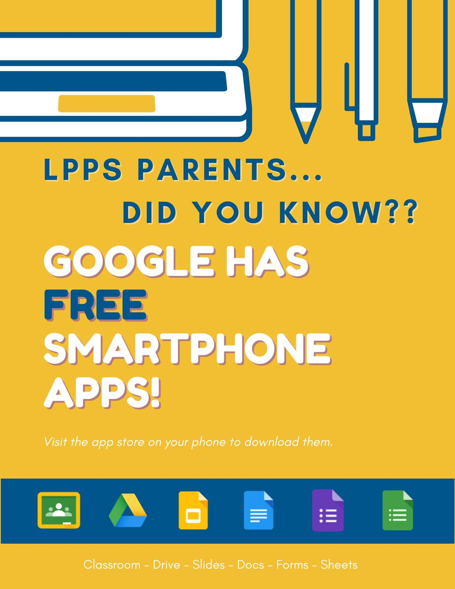 Download the FREE Google Apps to your smartphone to help keep up with your students' work.