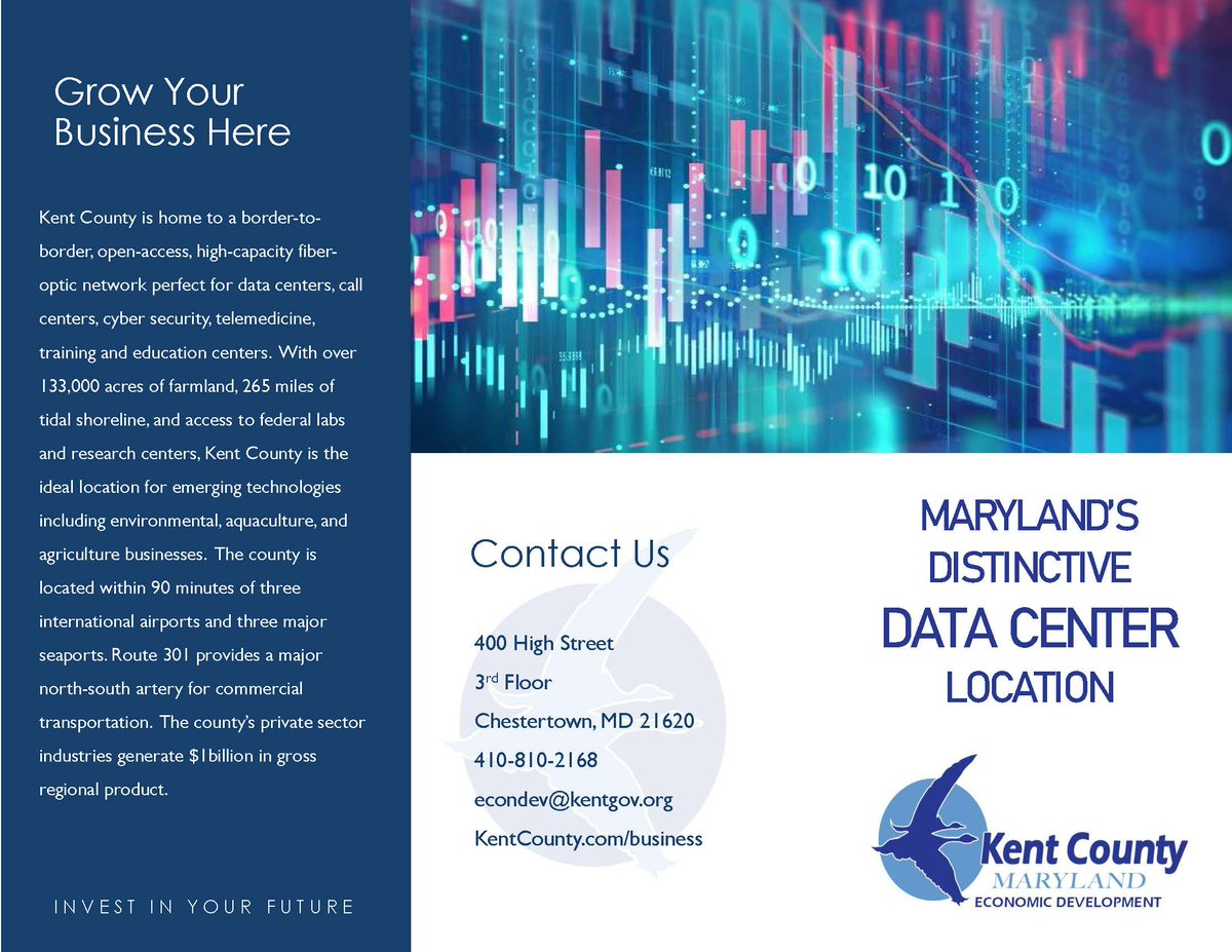 We are excited to share the Kent County Data Center brochure. Incentives include a 10-Year Sales and Use Tax Exemption and NO personal property tax. . #KentMDBiz #KentCountyMD #DataCenters