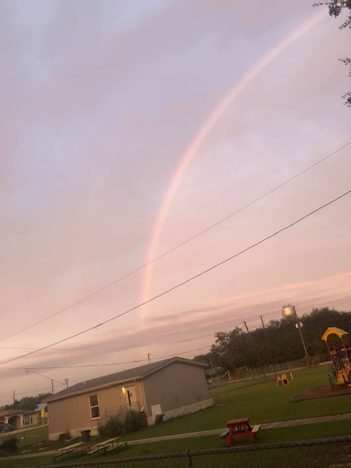 It's still rainbow season here in Polk County; we could always use more of these. (Photo from Tuesday morning at Dundee Elementary Academy.) 🌈 #lovePolkschools