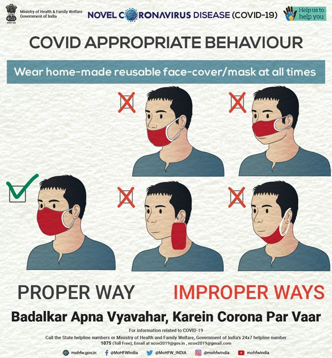 #IndiaFightsCorona  Learn about the proper way of wearing home-made reusable face-cover/mask. Share this information and help us to help you.  #BadalkarApnaVyavaharKareinCoronaParVaar #TogetherAgainstCovid19