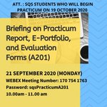 Attention to students who will begin #practicum on 19 Oct 2020. https://t.co/5pkMrBxn4T