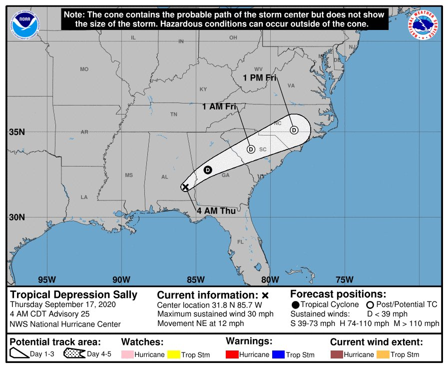 5AM Update for Tropical Depression Sally.  Please continue to stay weather aware.  Wind Advisory and Flash Flood Watch are still in effect.  #TurnAroundDontDrown