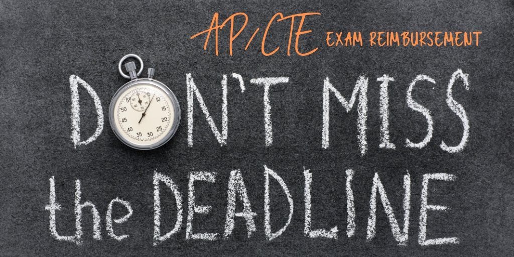 Made the grade on your AP/CTE exam? Submit reimbursement paperwork by mail or email it to your school's financial secretary by Sept. 30.   The form is at