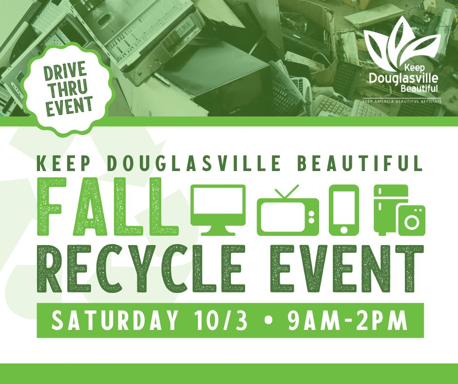 Bring your scrap metal and appliances to the Fall Recycle Event on Saturday, October 3 from 9 AM - 2 PM. **Household recycling such as paper, boxes, etc. will not be accepted.**  For more information email info@KeepDouglasvilleBeautiful.org or call 770-920-3005.