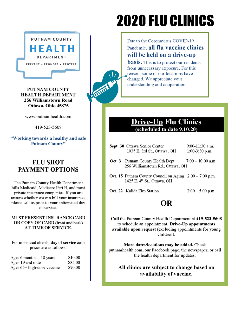 Drive-thru Flu Clinics offered by the PCHD coming soon!