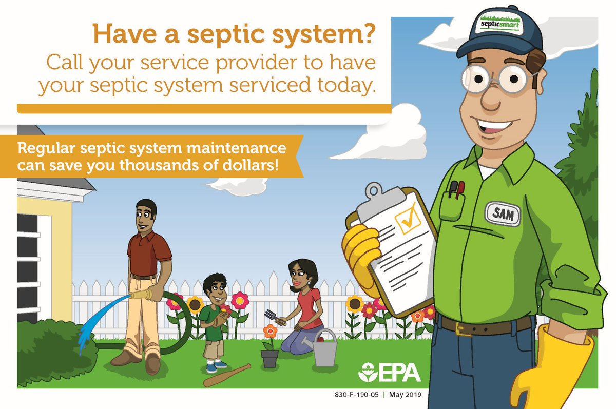 EPA's 8th Annual SepticSmart Week is Sept. 14-18, 2020. Safeguard your family's health, protect the environment, save money. Follow EPA's simple tips to help septic systems operate properly and protect the public health.  Visit  #septicsmart