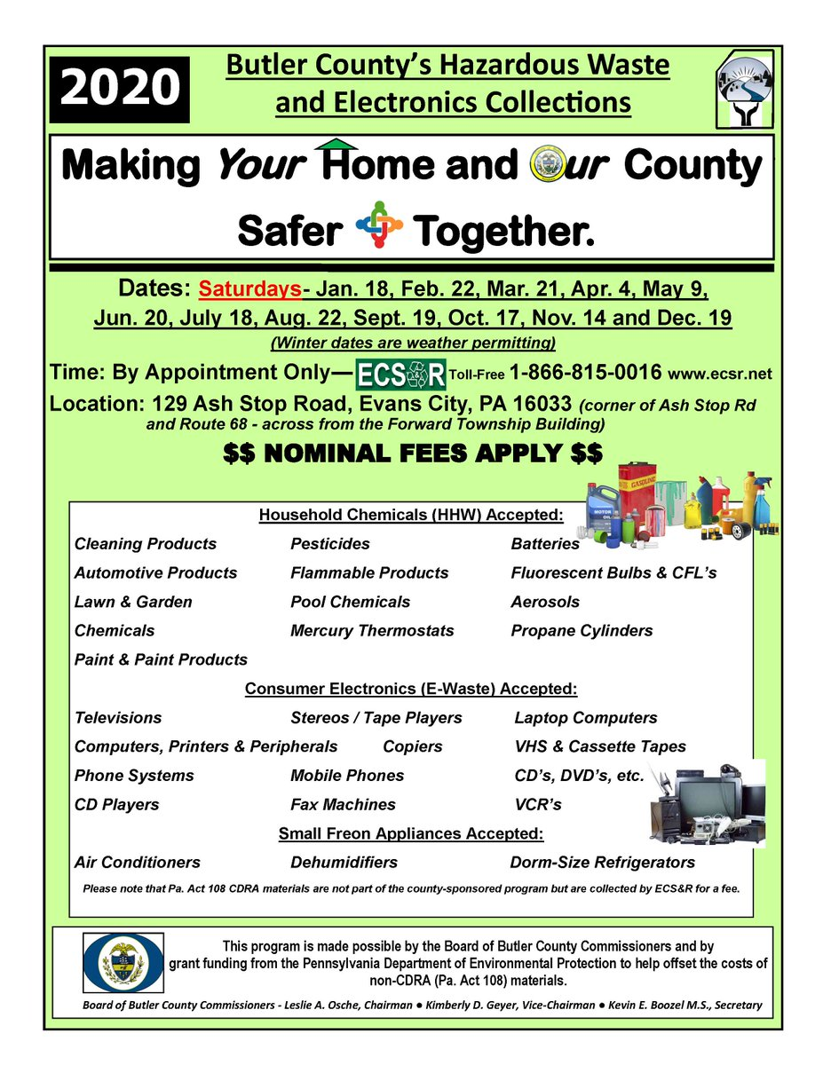 Butler County's next Hazardous Waste and Electronics Collection will take place on September 19 at ECSOR, 129 Ash Stop Rd., Evans City.  See attached flyer for details.
