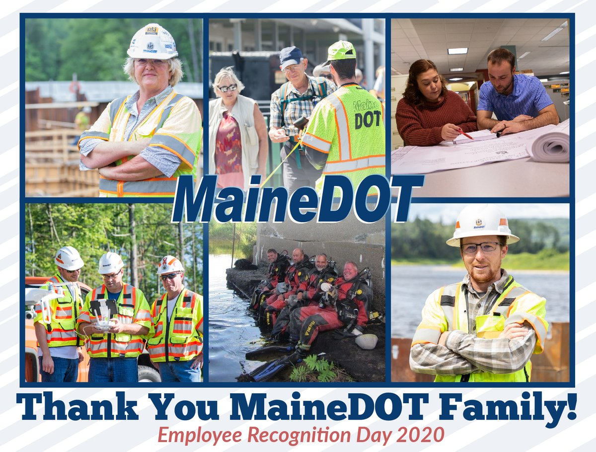 Today is our annual Employee Recognition Day. Although we aren't able to get together and celebrate as we normally do, a virtual ceremony will be the substitute this year. Thank you to all of our MaineDOT family for the hard work and dedication needed to keep Maine moving!
