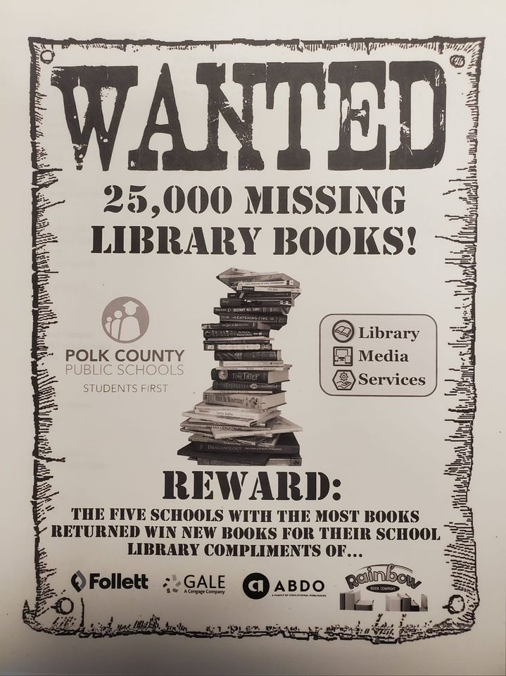 Howdy, folks! Thanks for your help with roundin' up the books that went missin' last year. Thousands have been safely returned to our schoolhouses, but there's still plenty more that are roamin' the plains of Polk County! We need those vagabond volumes!