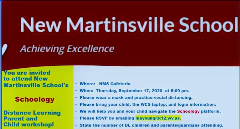 Schoology training at New Martinsville School tonight...Please make sure to RSPV.  #distancelearning #schoology #parents