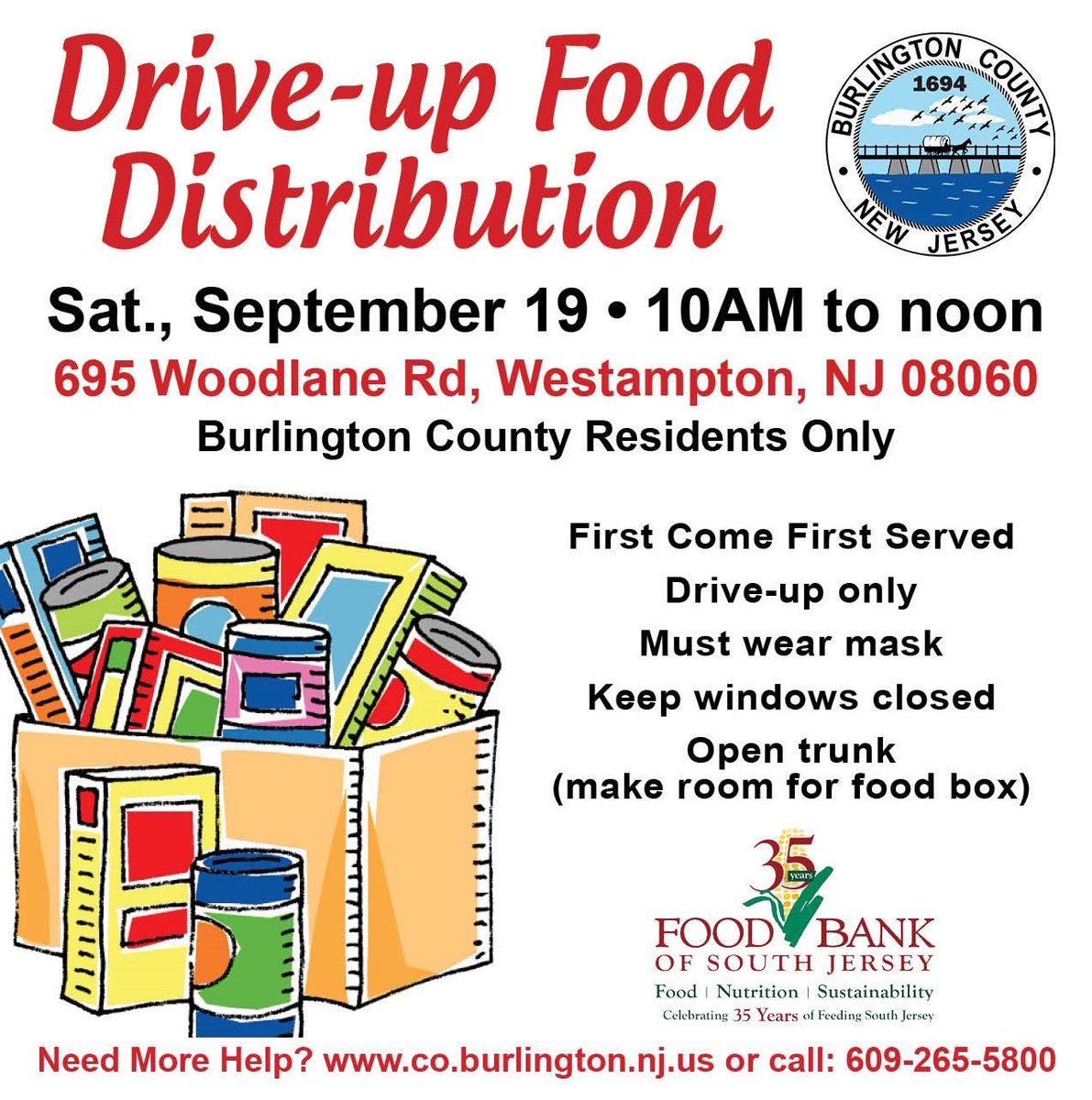 The County is hosting its 11th food distribution event this Sat., Sept. 19, from 10AM-noon, in the parking lot of the Emergency Services Training Center in Westampton. Residents in need of the assistance are eligible for free boxes of food & produce. Please spread the word!