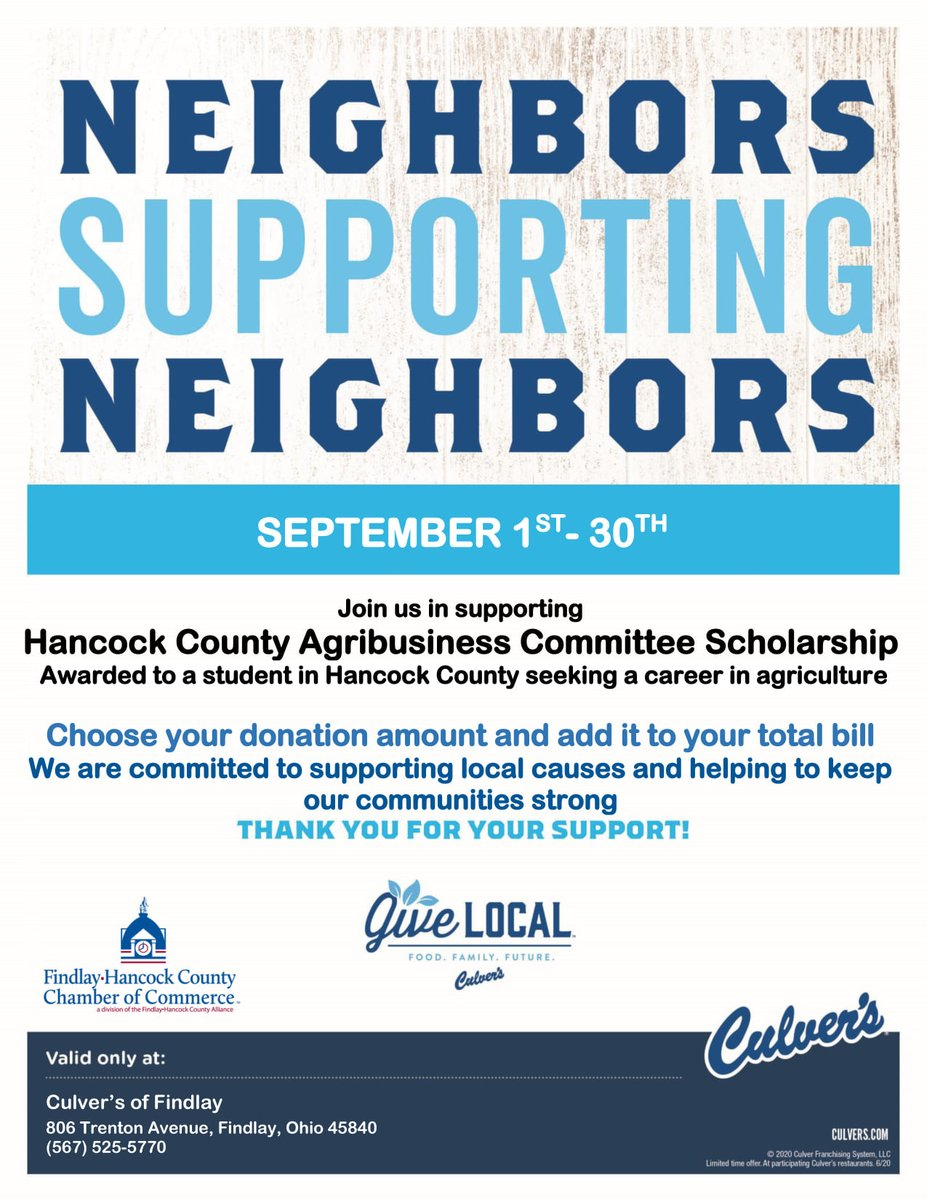 Don't forget that you can donate to our Agri-Business Committee Scholarship fund by eating at @culvers  this month! #Agriculture #AgriBusiness #FindlayOhio