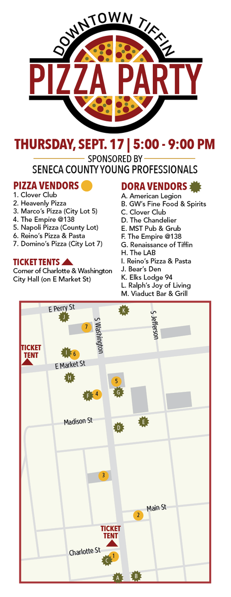 RT @MayorMontz: Reminder: the Downtown Tiffin Pizza Party is tonight! Don't miss this delicious event! 🍕