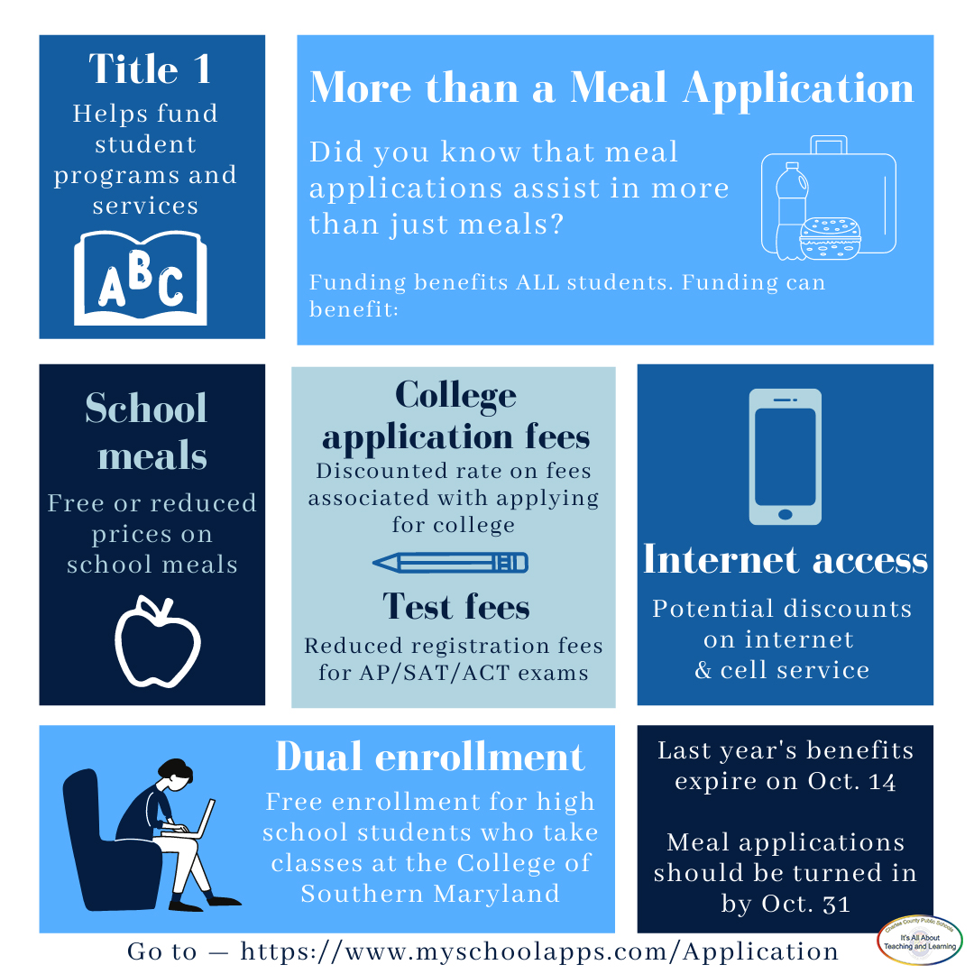 CCPS is asking all of our families to complete the meal application to ensure funding is continued to support all  students in our school system.   To fill out the application online, go to