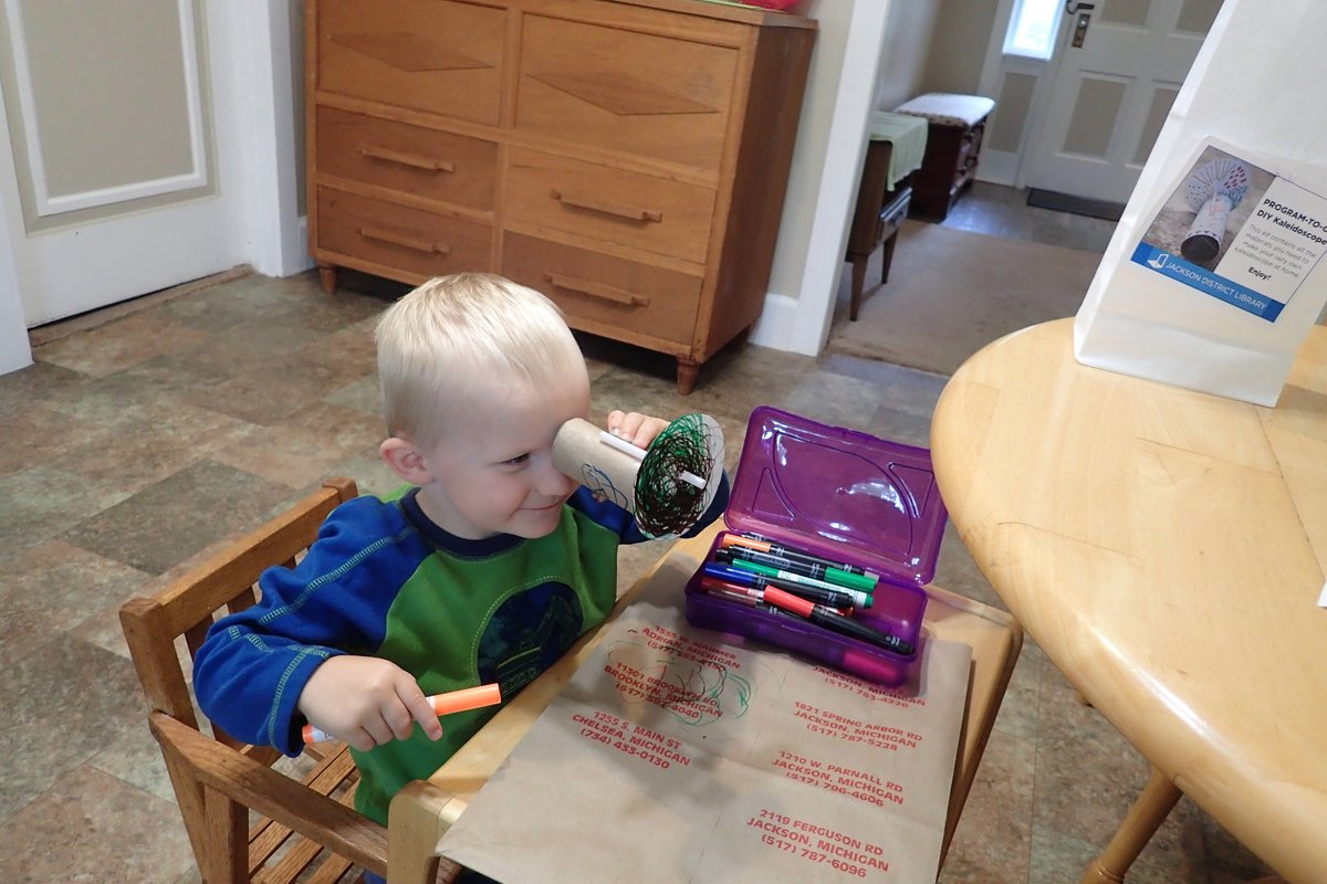 It's always nice to see patrons enjoying our programs, including this young crafter having fun with our recent DIY Kaleidoscope program!  For a full list of our events, check out our events calendar