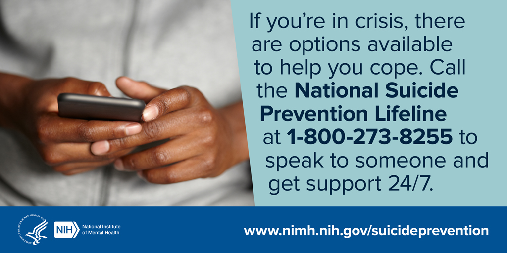 September is #NationalSuicidePreventionMonth.  Suicide is the tenth leading cause of death in the United States, according to the CDC.  The National Suicide Prevention Lifeline is accessible 24/7 at 1-800-273-TALK (8255) or by the Crisis Text Line (text HELLO to 741741).
