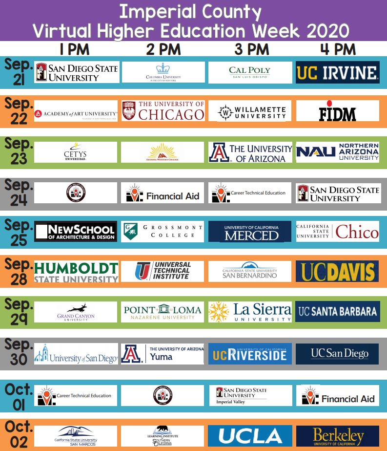 Attention High School Seniors! College and university representatives will be hosting virtual webinars during the weeks of September 21 - October 2. To see the daily schedule of colleges and universities during this year's Higher Education Week, visit .