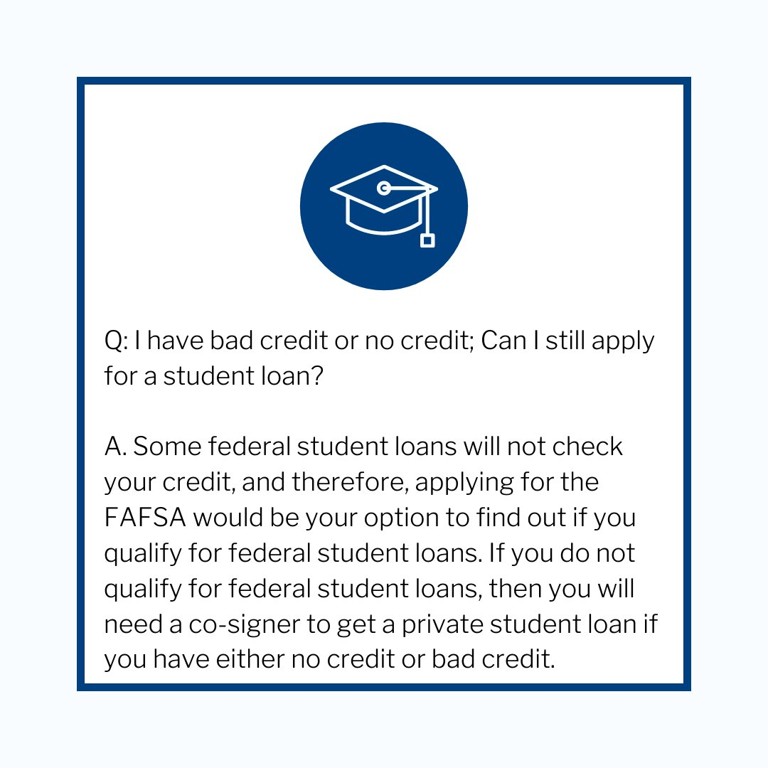 RT @NVTreasurer: Can I still apply for a student loan, if I have bad to no credit? Here's the answer! 👇