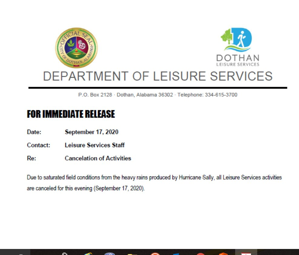 Leisure Services Press Release for September 2020