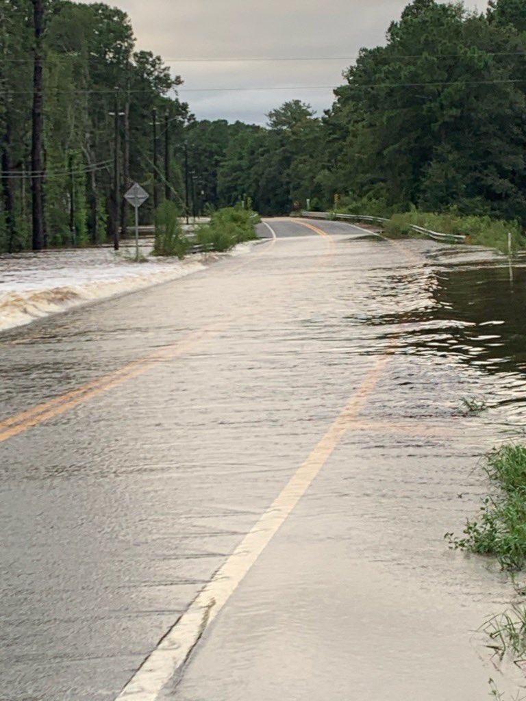 Flooding at the Shoal River Bridge on Highway 1087.   #HurricaneSally2020 #Hurricane