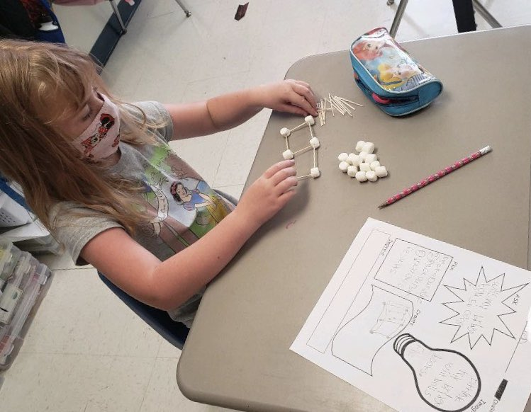 Jefferson students work on an investigation for science. Will they be able to hold five light books on their toothpick/marshmallow bridges? #BuildingBearcats