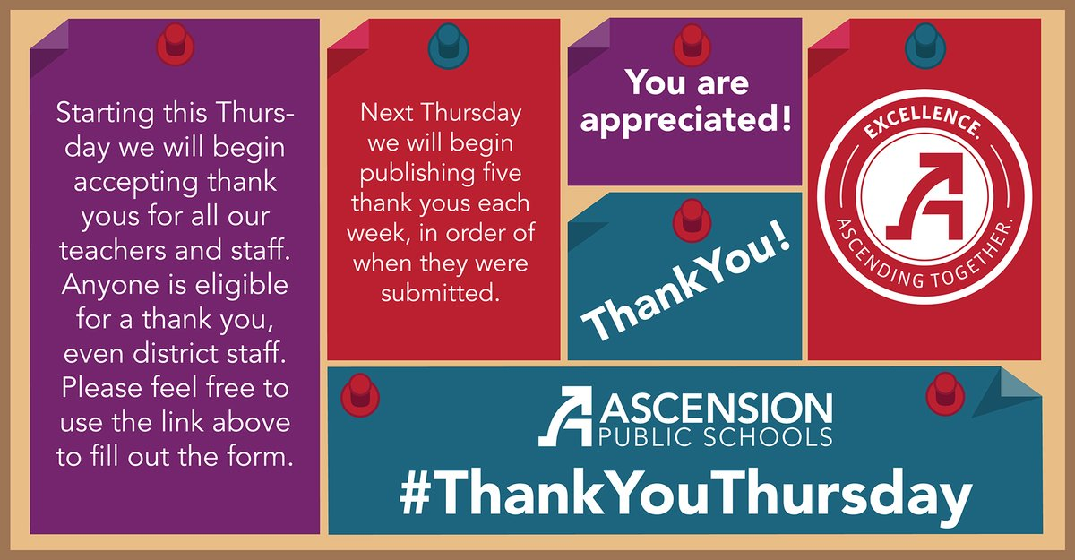 Starting next week, we will begin celebrating #ThankyouThursday! Please use this link to send a compliment to a teacher, faculty, or staff member from any school or department within APSB. Next Thurs, we'll start publishing your Thank Yous, five at a time!