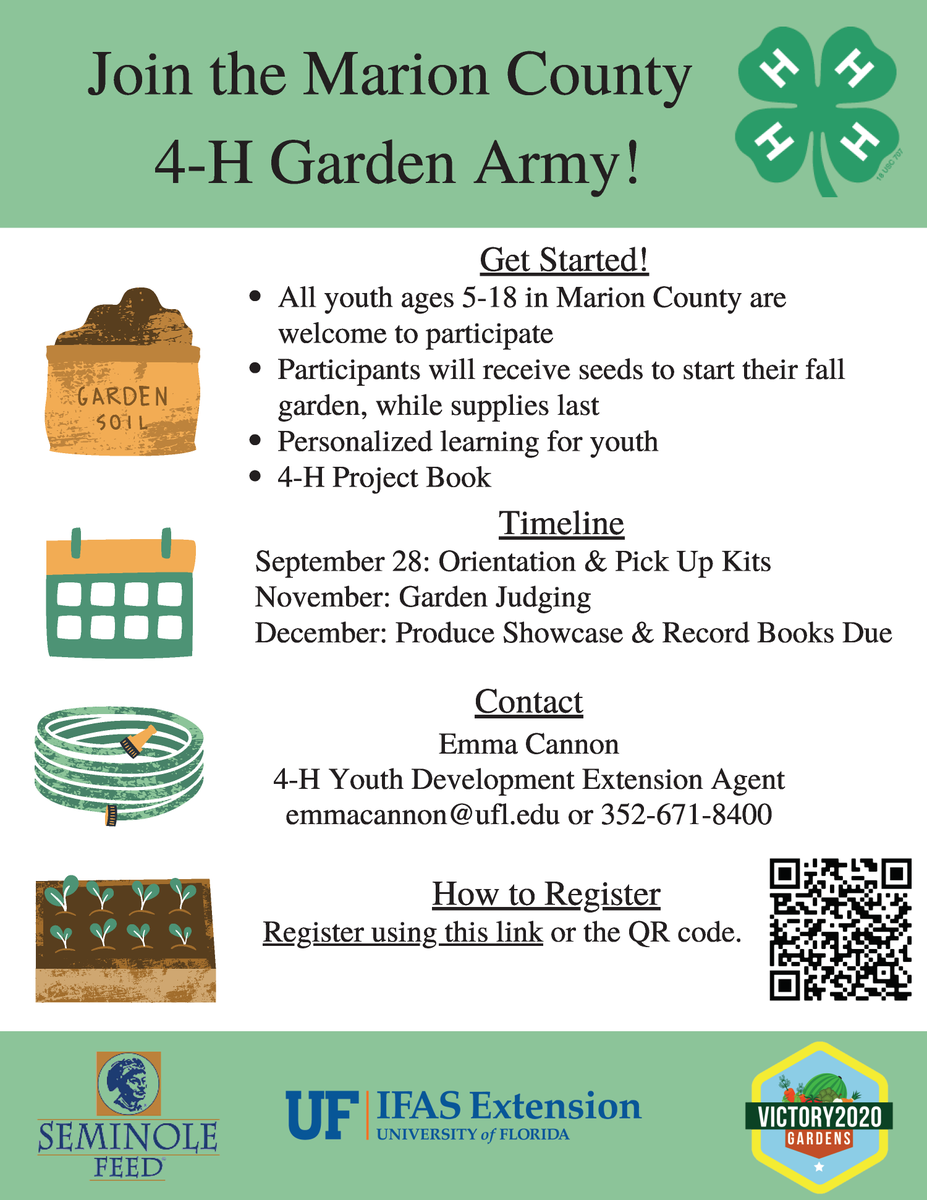 Join the Marion County 4-H Garden Army!  Marion County 4-H is welcoming youth across the county to plant a garden this fall and learn about plant science.   Sign up (ages 5-18) today!    For more information, call 352-671-8400 or email emmacannon@ufl.edu