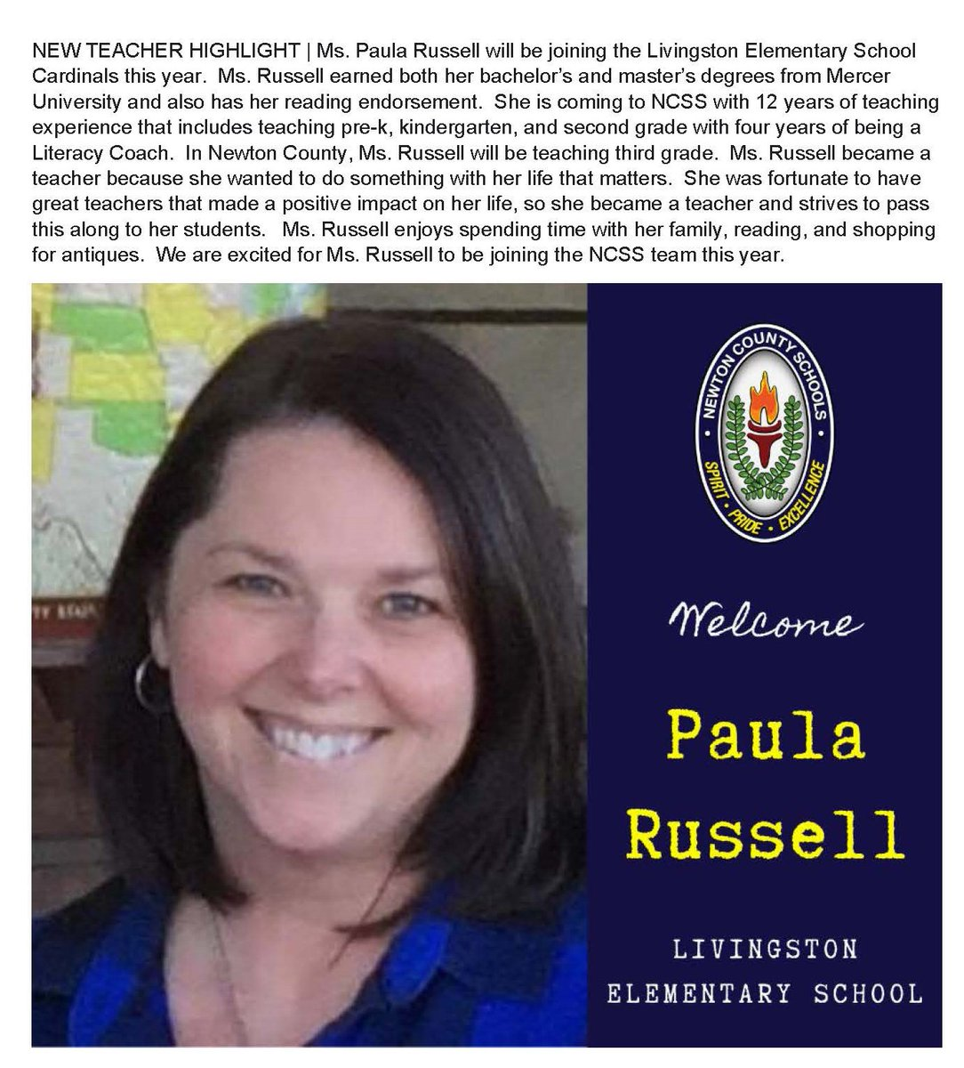 We welcome Ms. Paula Russell to the @LVESCHOOL & NCSS Team! #NCSSBeTheBest