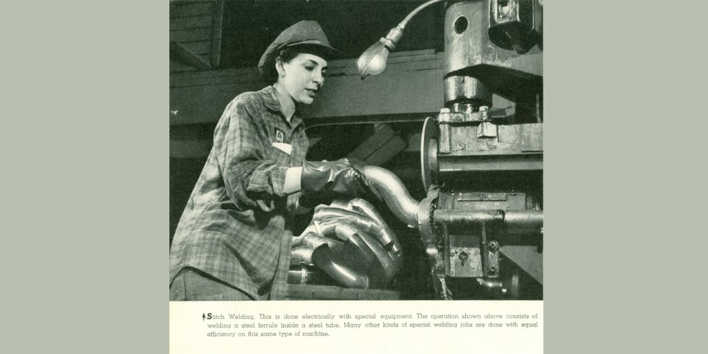 #tbt Love this real-life Rosie the Riveter, a welder from the American Tube Bending Co at 8 Lawrence St, incorporated in 1910. They made custom tubular parts & assemblies for the automotive & aviation industries. [image from #NewHaven Industries Files in Local History]