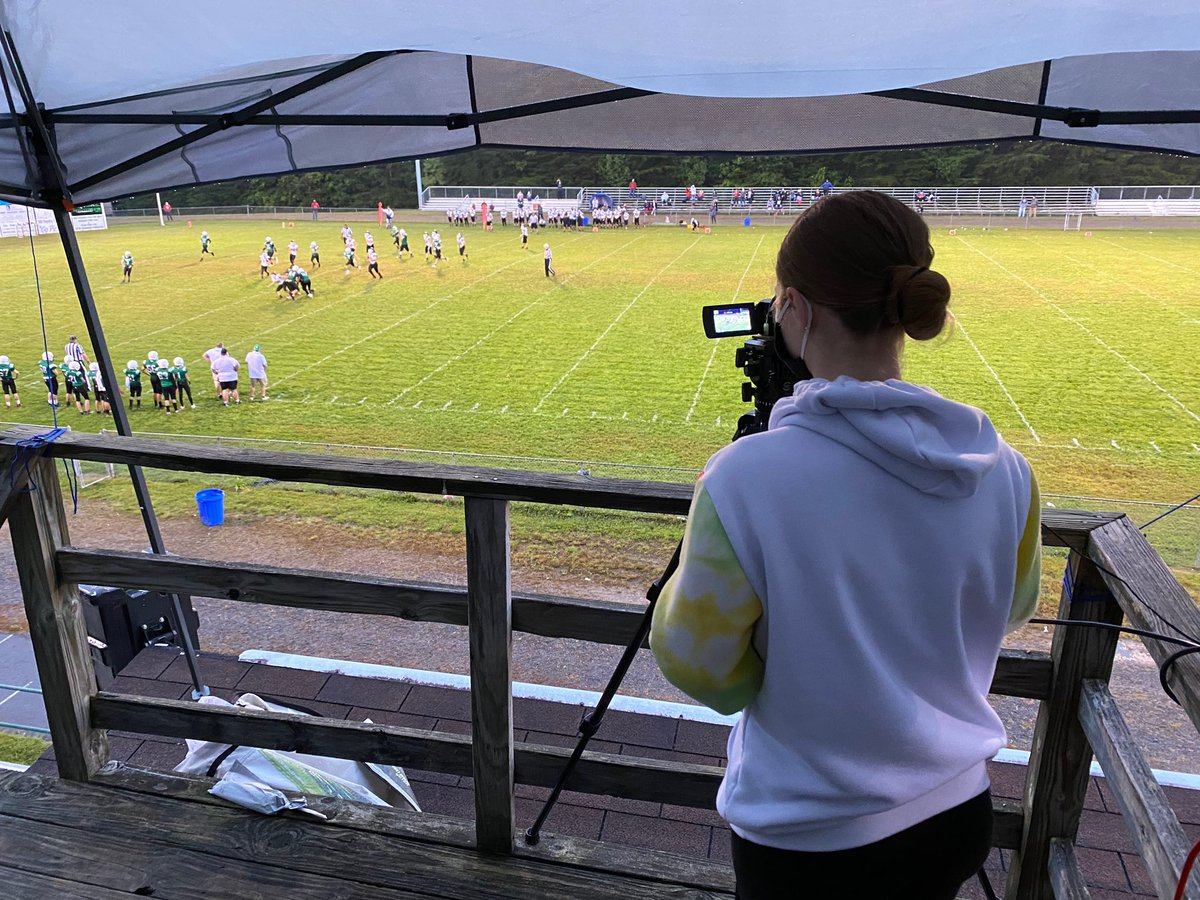 FPK8 student live streaming the first middle school football game so the community can enjoy the game. #STEMeducation #FayetteBridgeToSuccess