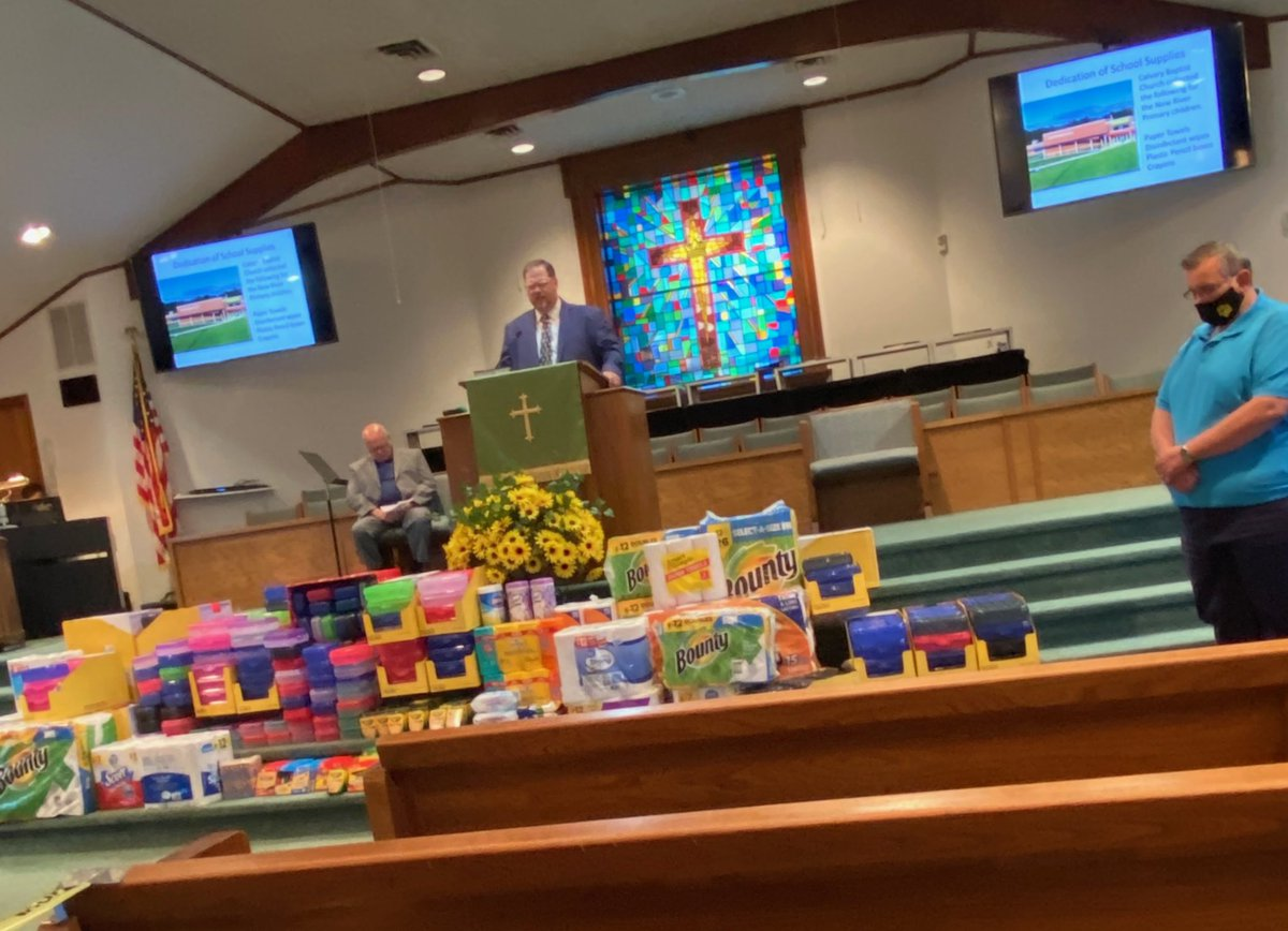 Calvary Baptist Church of Oak Hill adopts New River Primary. They provide individual pencil boxes for Math manipulatives, crayons etc.  #community #FayetteBridgeToSuccess