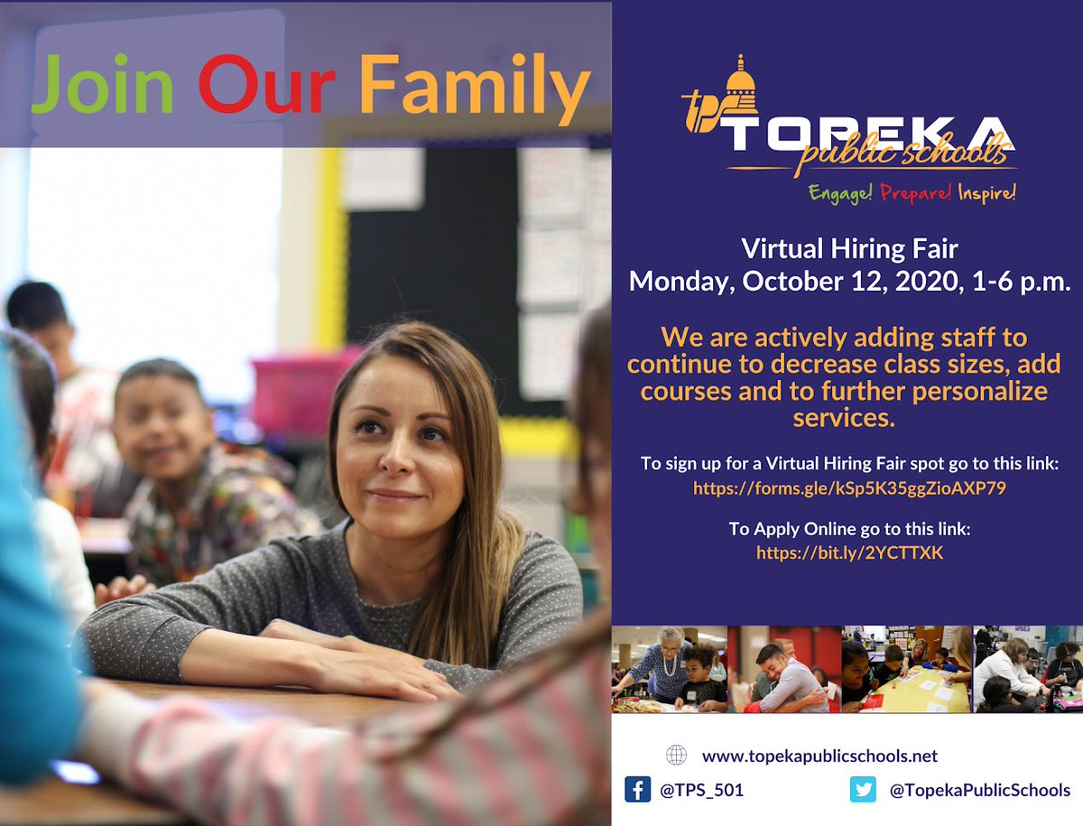 Join us on Monday, October 12, 2020 from 1-6 p.m. for our Virtual Hiring Fair! Visit  to see our open positions. #WeAreTPS