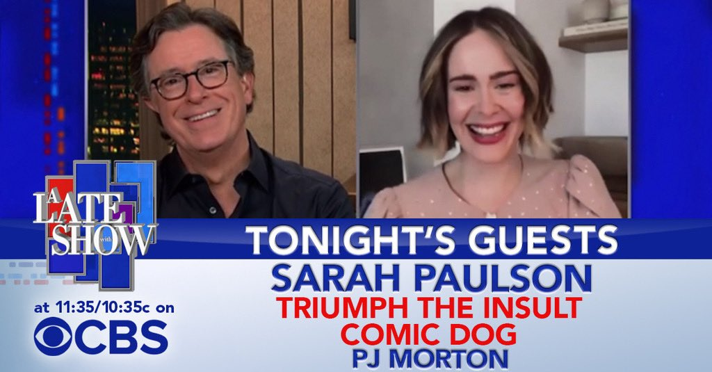 TONIGHT: The talented @MsSarahPaulson! Then a special appearance from @TriumphICDHQ and a performance from @PJMORTON! #LSSC