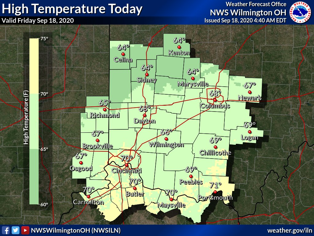 Under sunny skies, high temperatures today will reach into the mid to upper 60s. This is around 10 degrees below normal for the date.