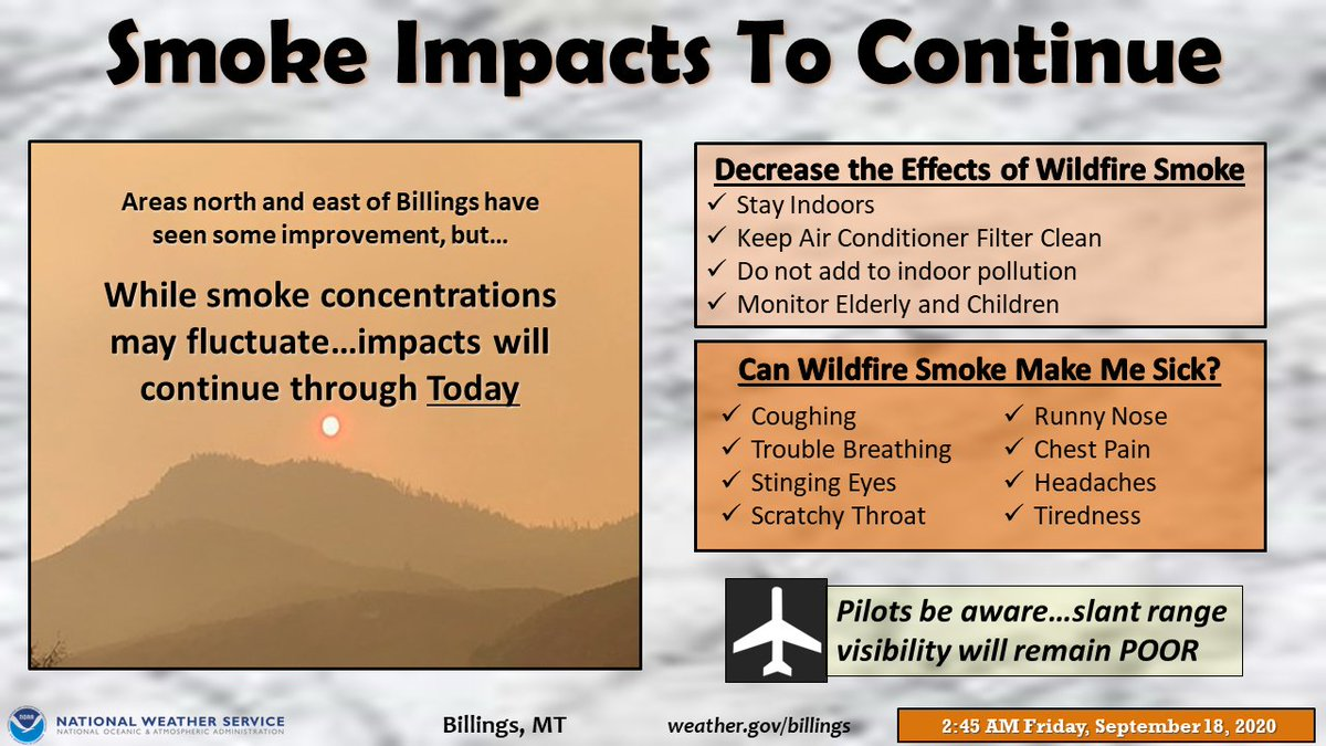 #Smoky conditions look to persist through today. However, while smoke won't completely leave the area this weekend, concentrations should lighten up Saturday and Sunday.  #mtwx #wywx