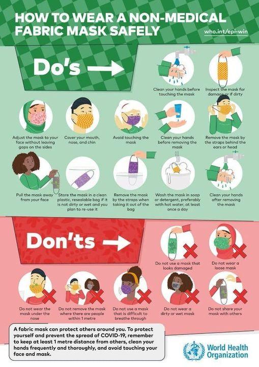 #IndiaFightsCorona:  📍❌ How to wear a non-medical fabric mask safely😷  ✅Do's   ❌Don'ts  #StaySafe #IndiaWillWin #MoDAgainstCorona   Via  @WHO