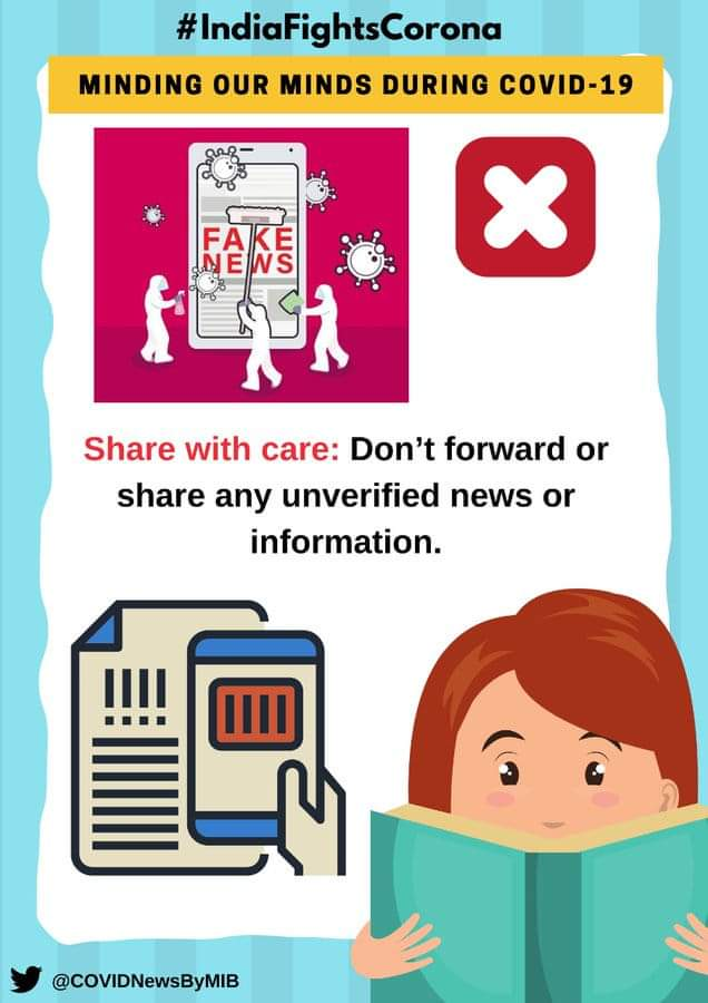 #IndiaFightsCorona:  📍Minding our minds during #COVID19  Share with care: Don't forward or share any unverified news or information.  #StaySafe #IndiaWillWin