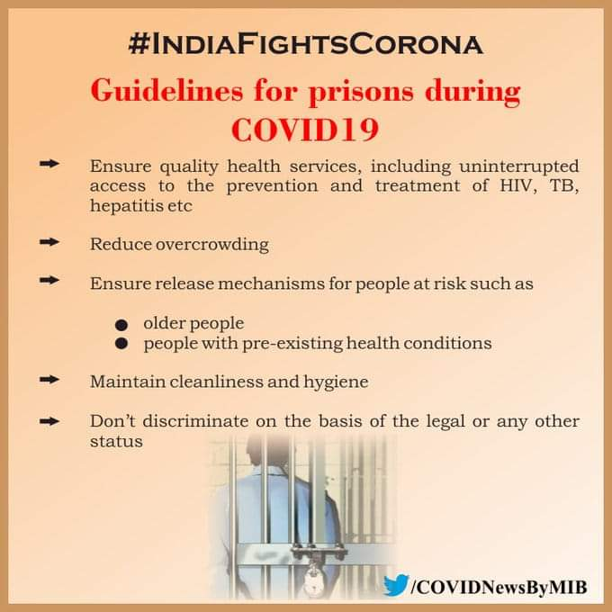 #IndiaFightsCorona:  📍#Guidelines for prisons during #COVID19  ↗️Ensure quality health services, including uninterrupted access to the prevention and treatment of HIV, TB, hepatitis etc  ↗️Reduce overcrowding  #StaySafe