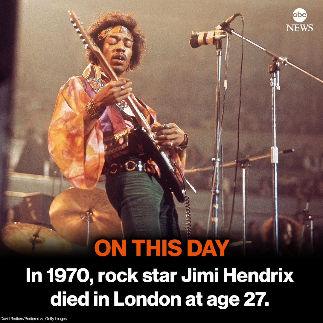 ON THIS DAY: 50 years ago, rock star Jimi Hendrix, one of the 20th century's most creative and influential musicians, died in London at age 27.
